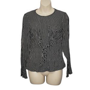 ZARA black and white striped bell sleeve top small